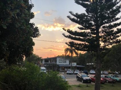 Sunset over the hostel